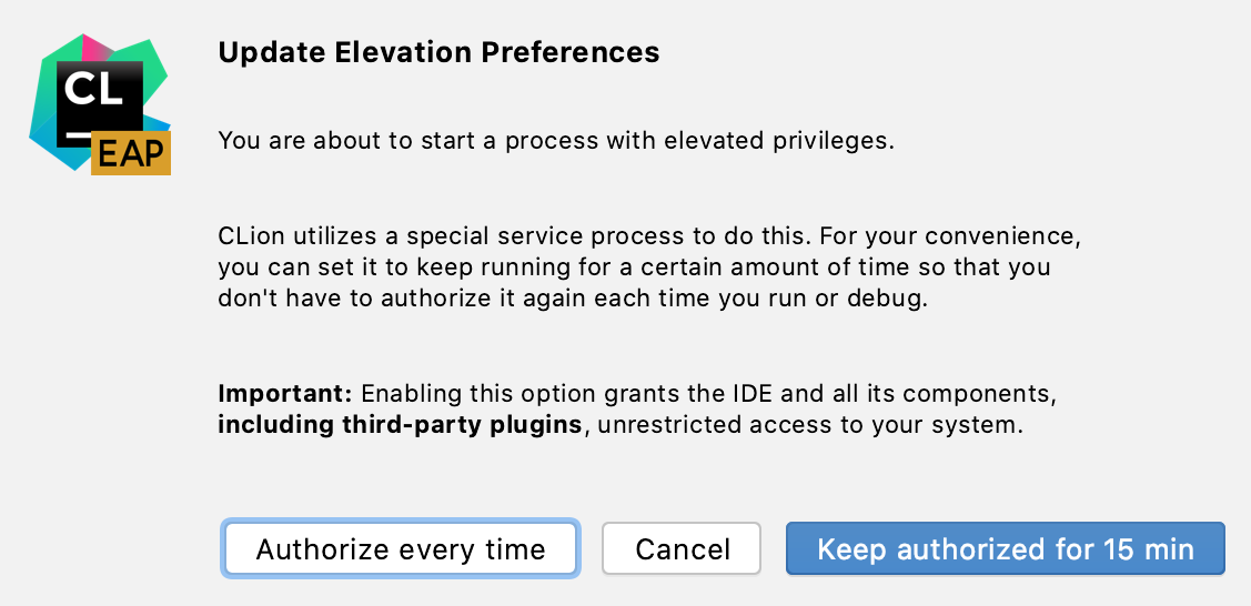 Authorization preferences dialog