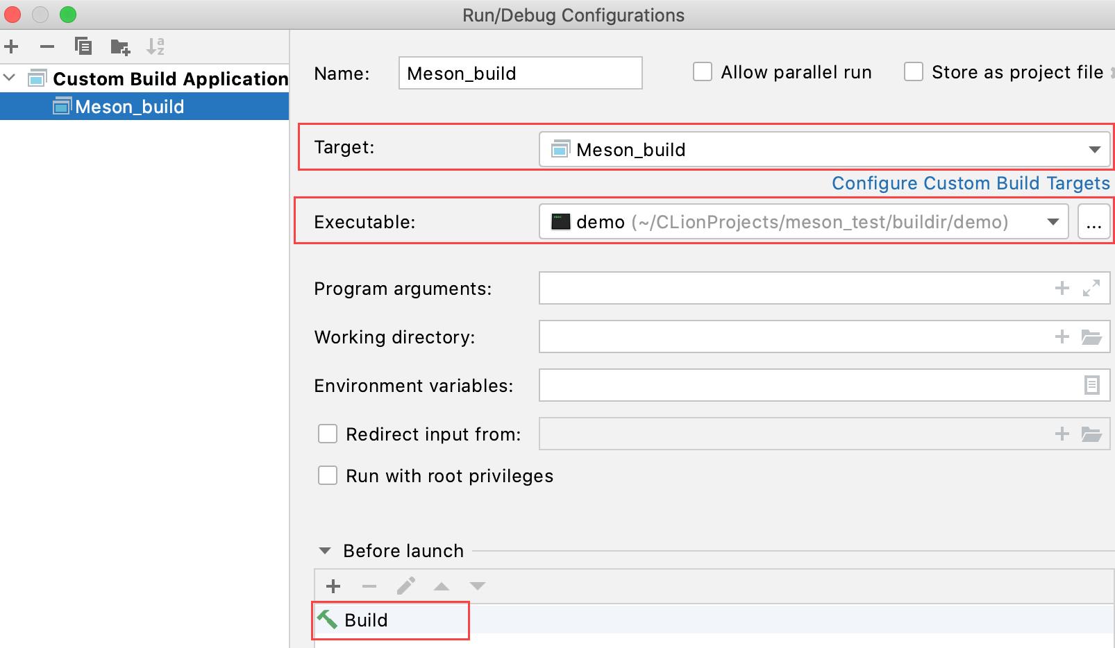 Custom configuration with build