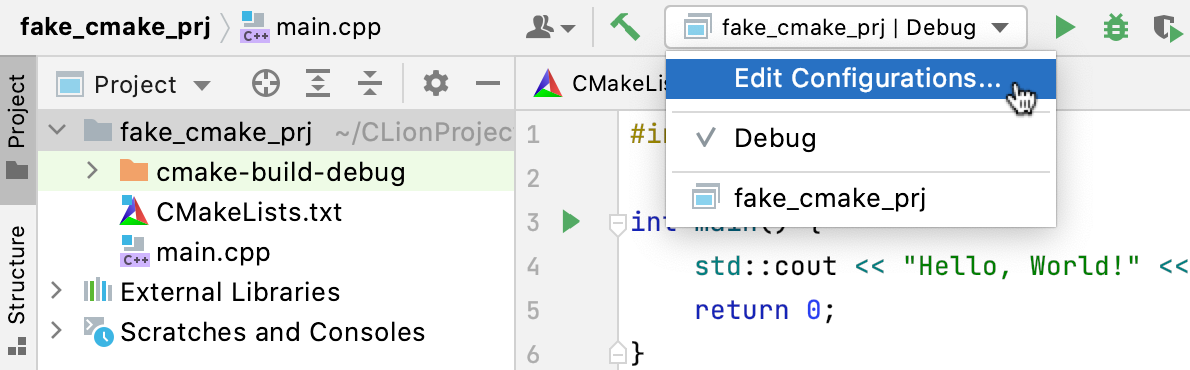 Default CMake configuration