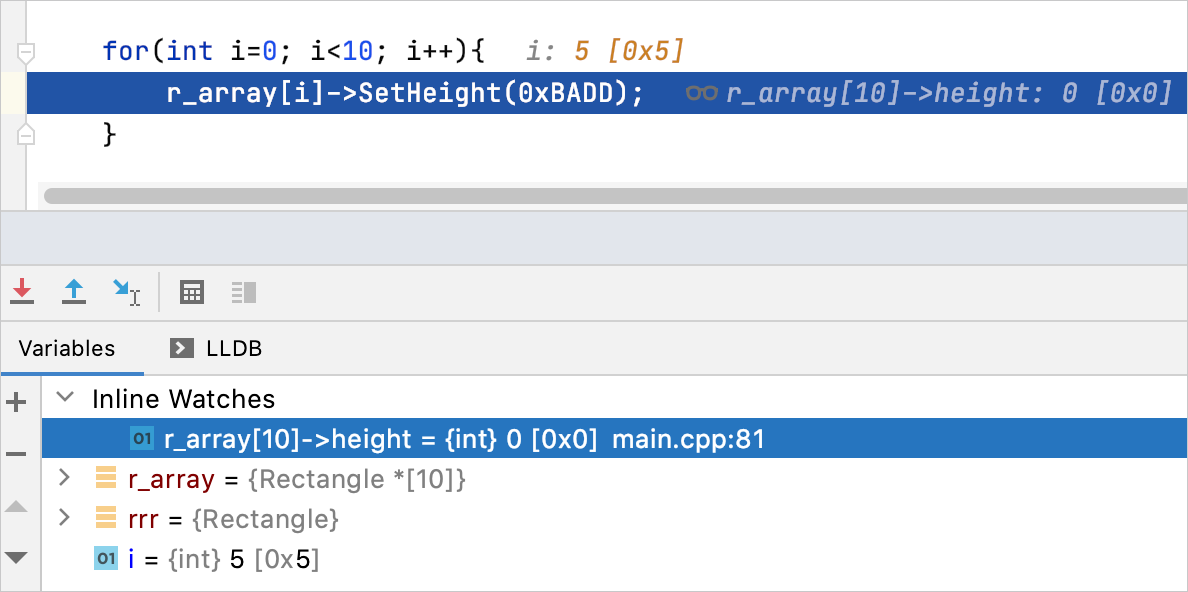 Inline watch in the editor and in the Debug tool window