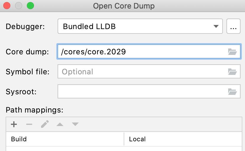 The Open Core Dump dialog