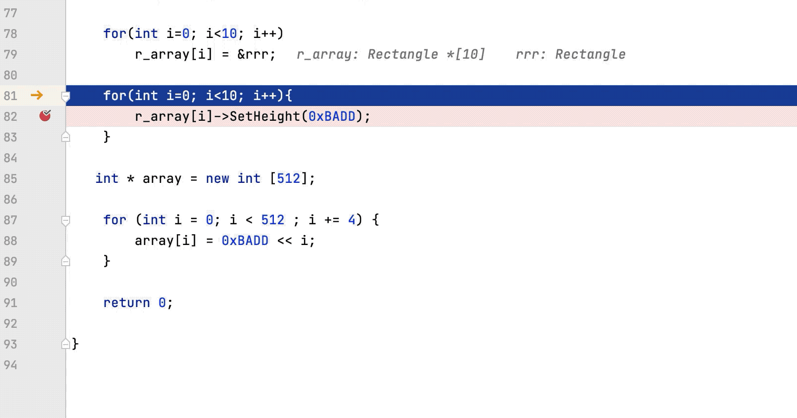 Inline variables view