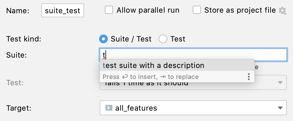 Auto-completion for suite names