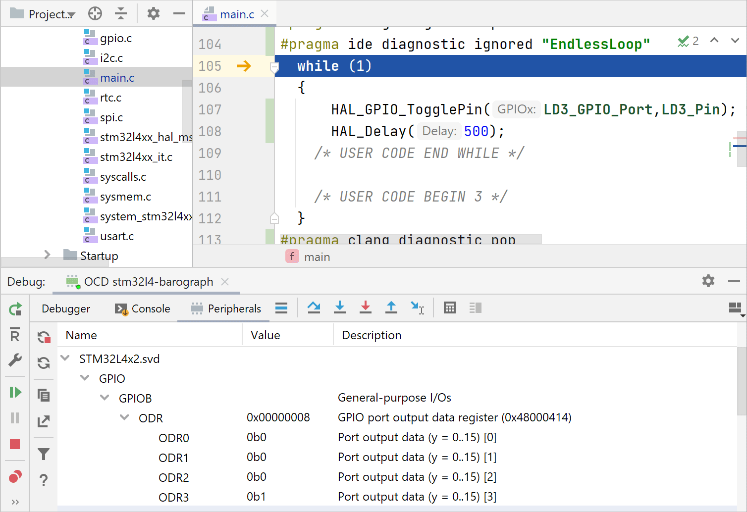 Debugging an embedded project
