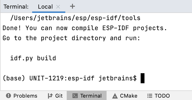 The result of setting ESP-IDF environment