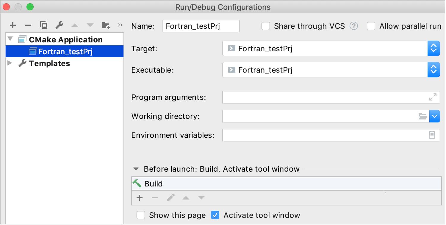 CMake run/debug configuration for Fortran