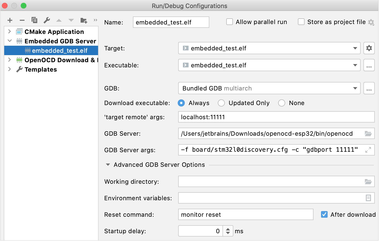 Embedded GDB Server configuration