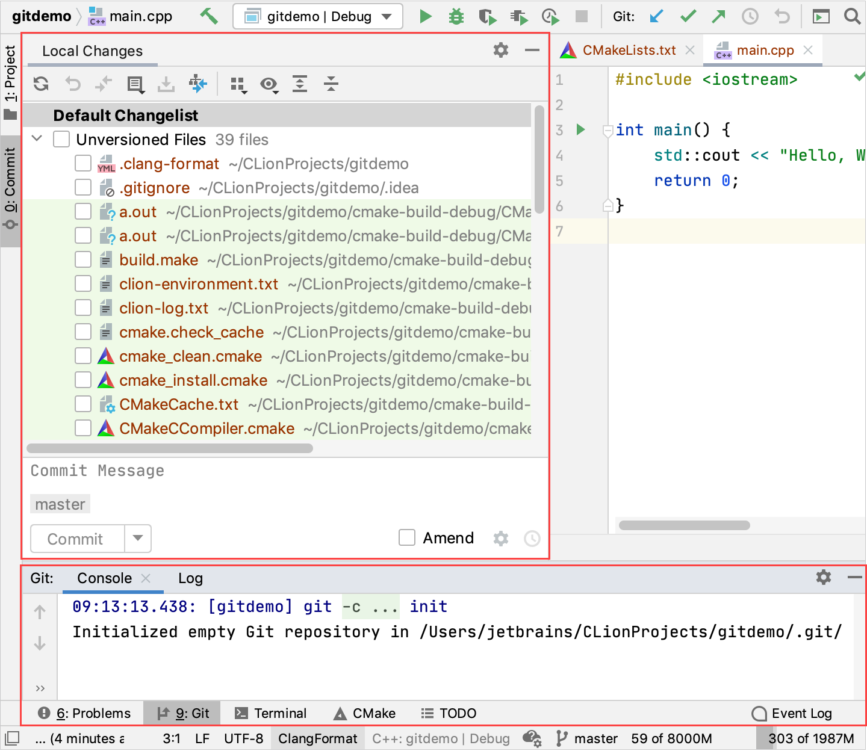 Git tool windows
