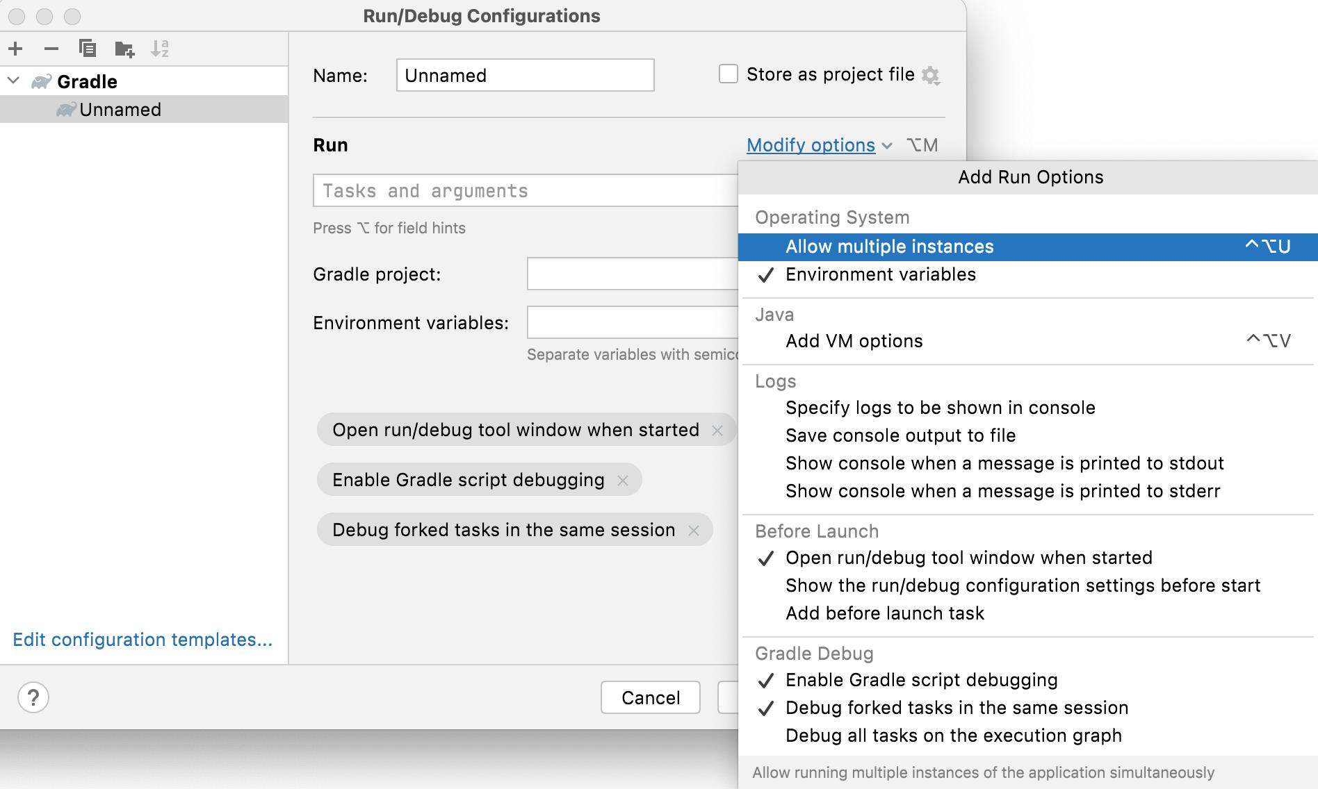Gradle configuration settings
