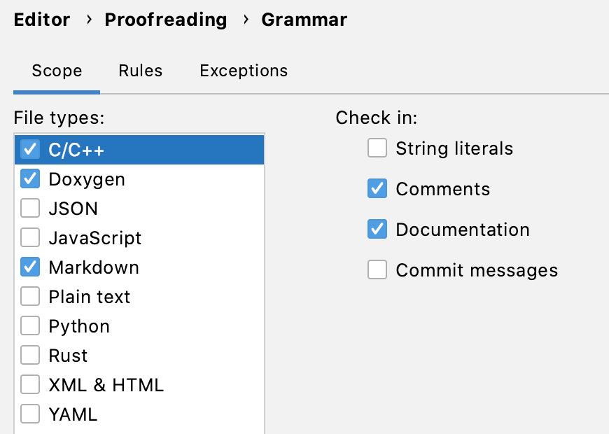 Grammar settings