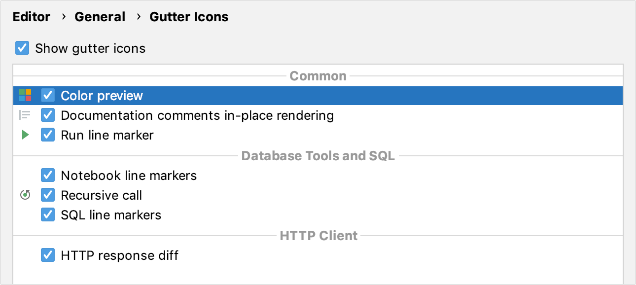 Gutter icons settings in the Settings/Preferences dialog