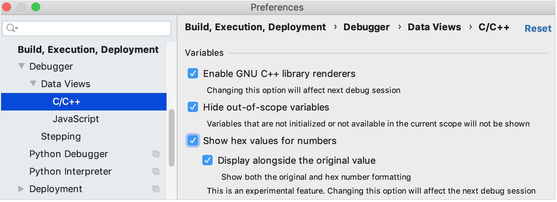 enabling hex view in debugger settings