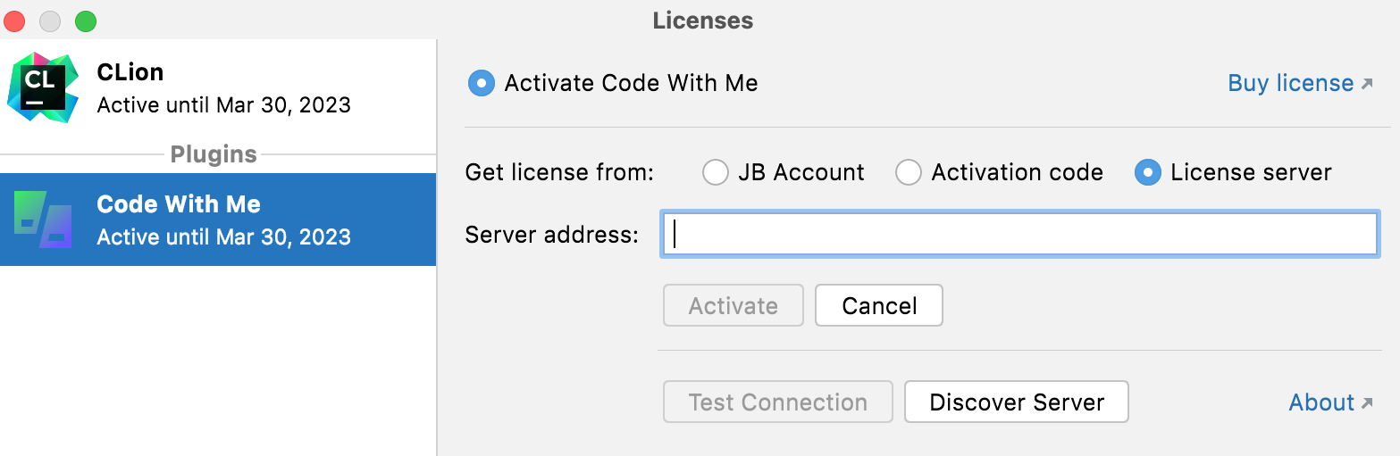 The Licenses dialog