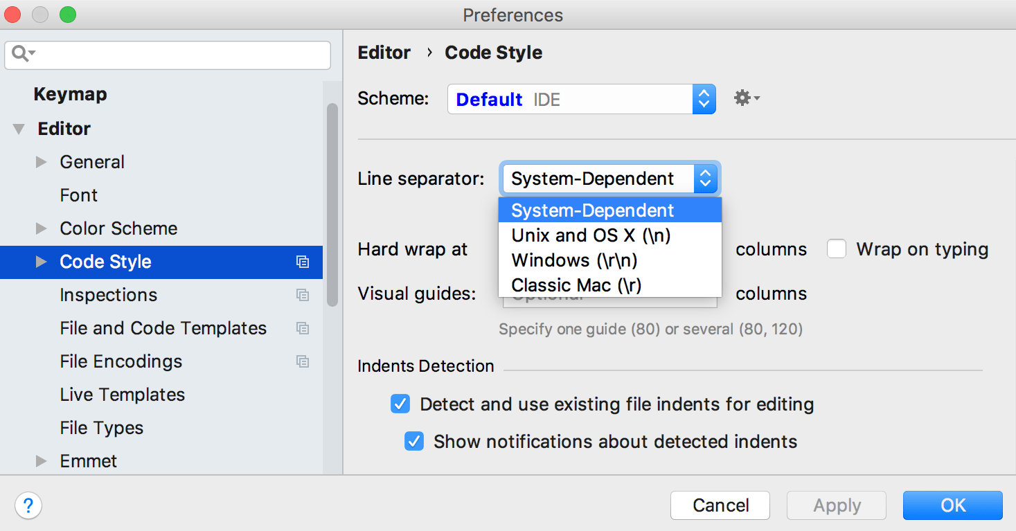 Line Separator for new files