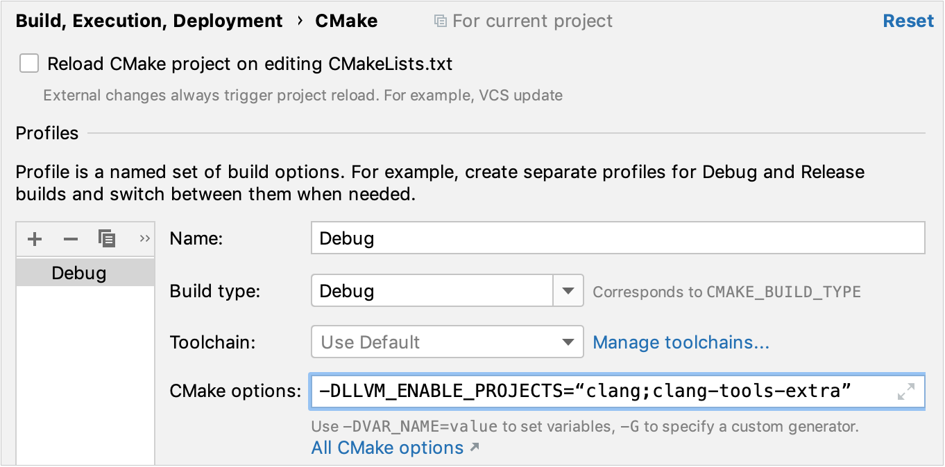 Compiler flags for LLVM subprojects