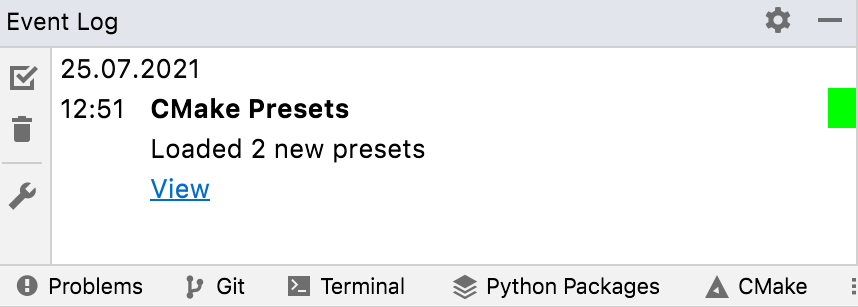 Presets loaded notification