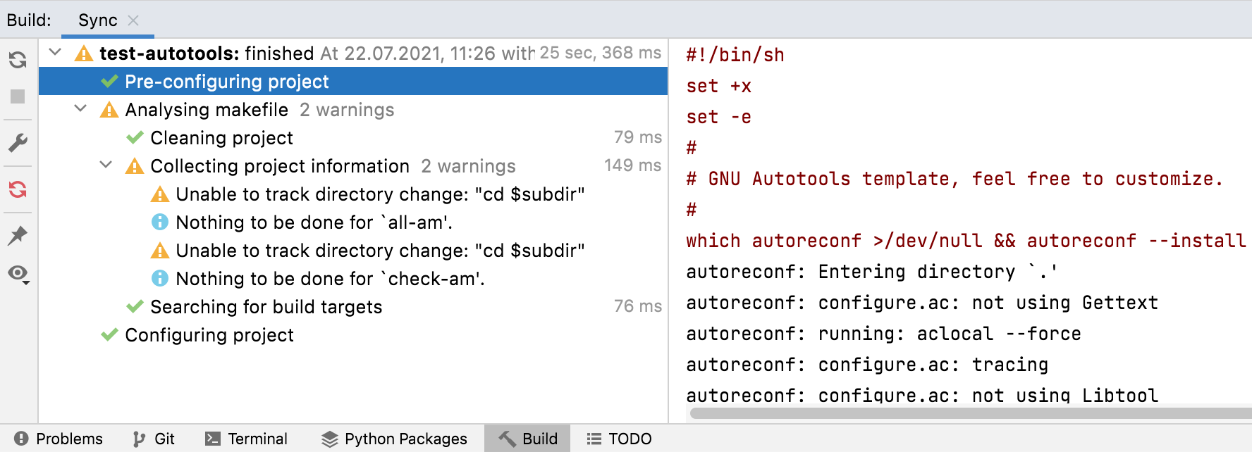 Pre-configuring the project with autoreconf