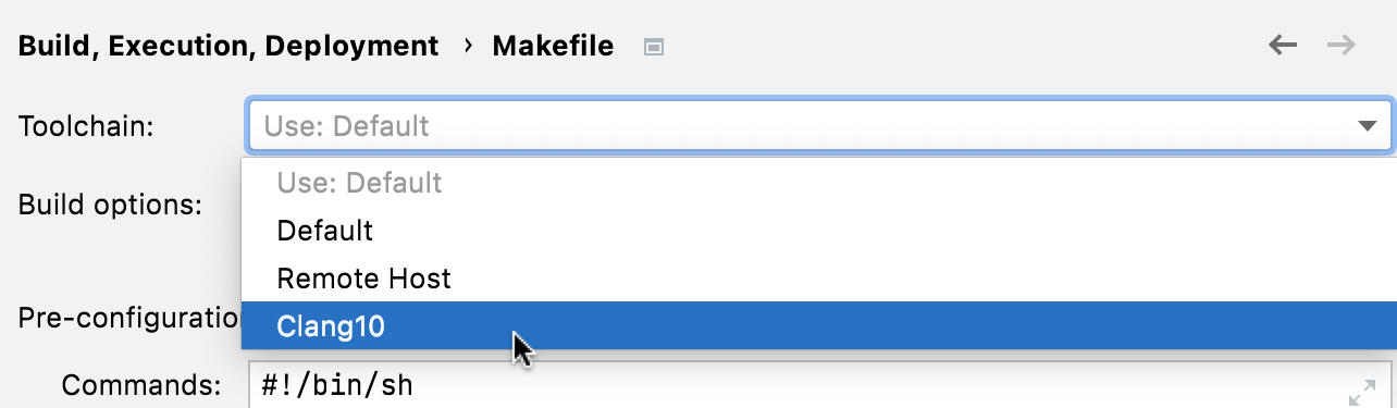Selecting the toolchain for a Makefile project