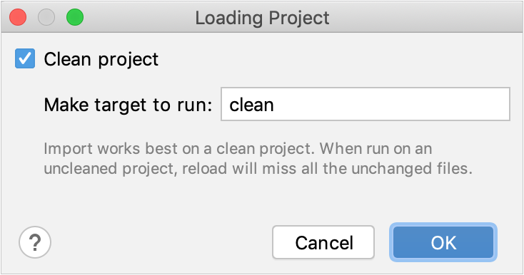 Load project dialog