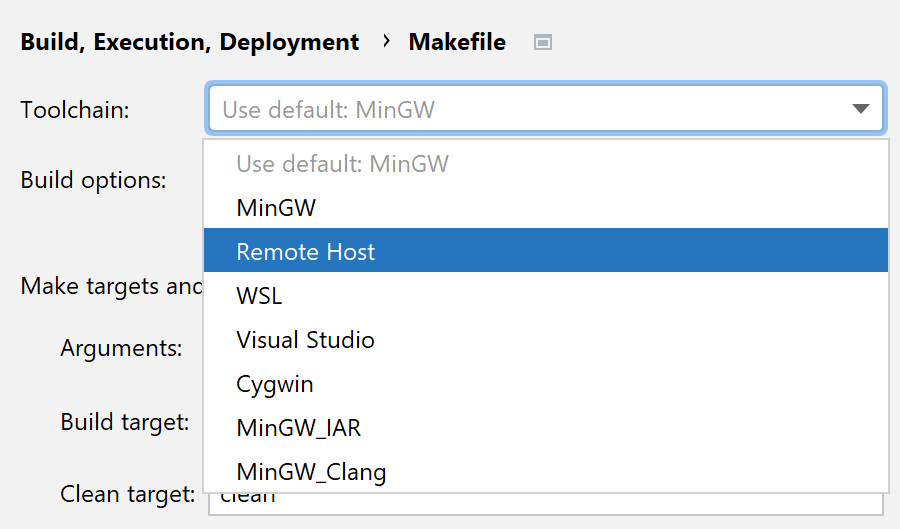 Selecting a remote toolchain for Makefile