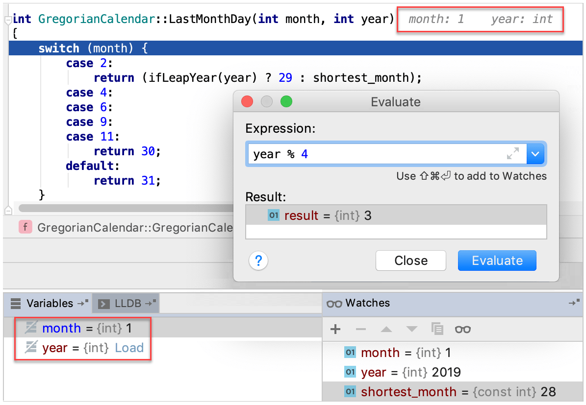 watches and evaluate expression with muted variables