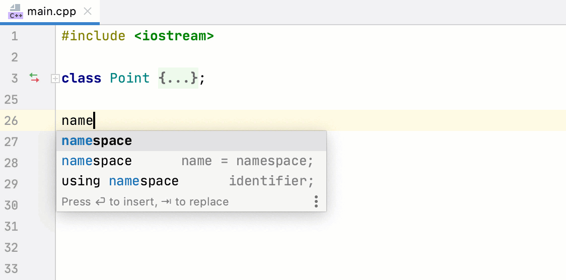 Namespace completion