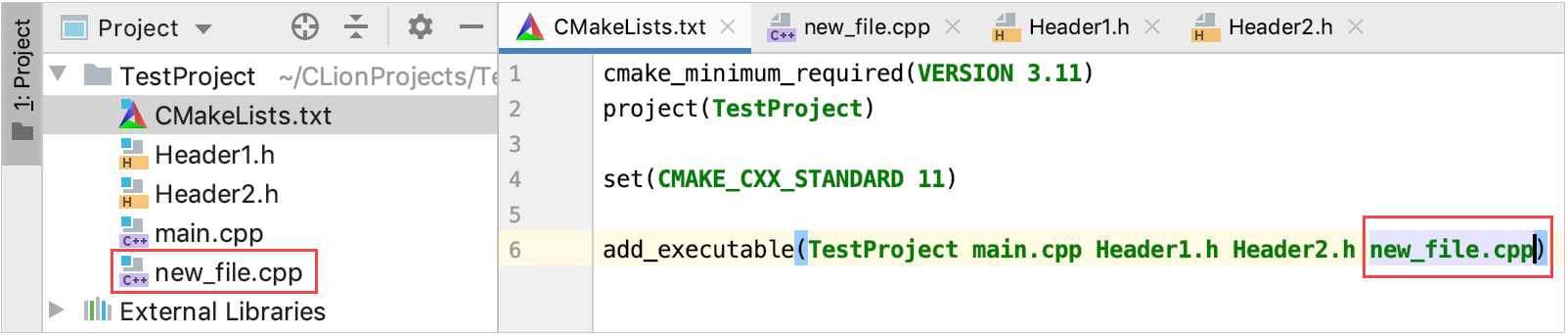 New file added to the selected CMake target