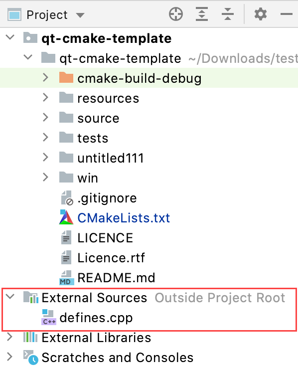 External sources in the Project tree