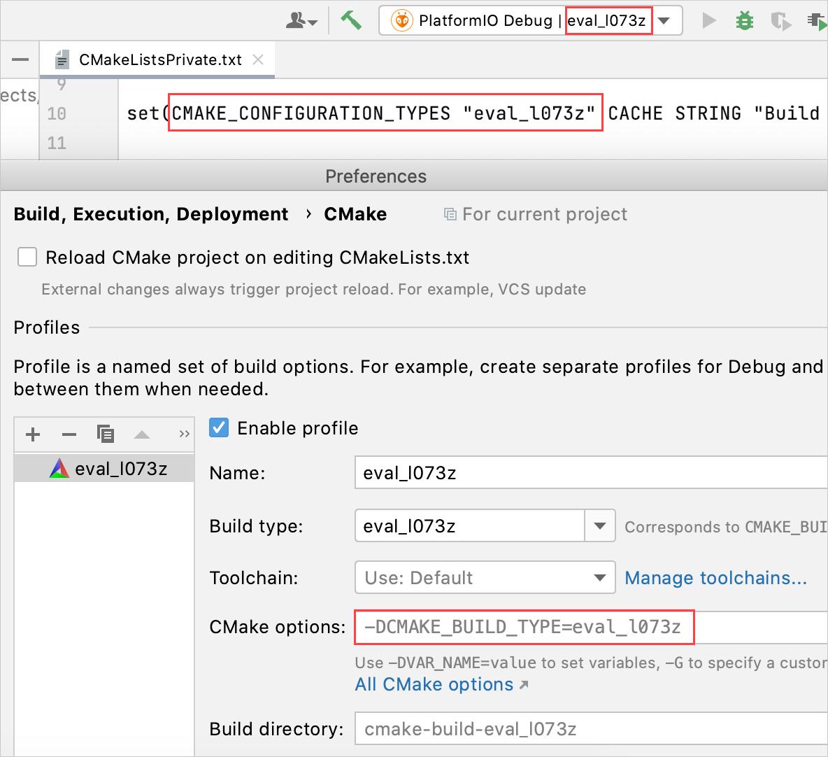 CMake profile for a PlatformIO project