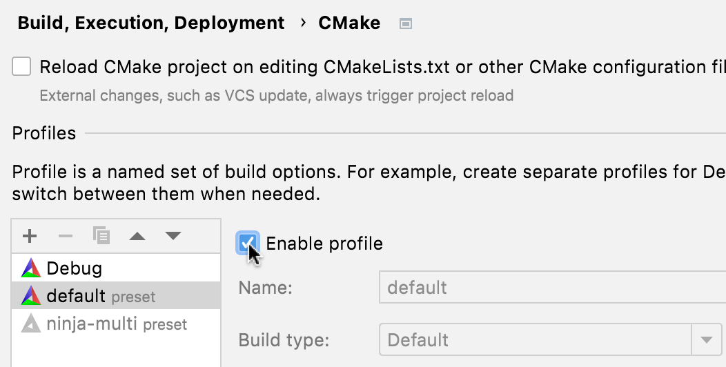 Enabling a presets profile