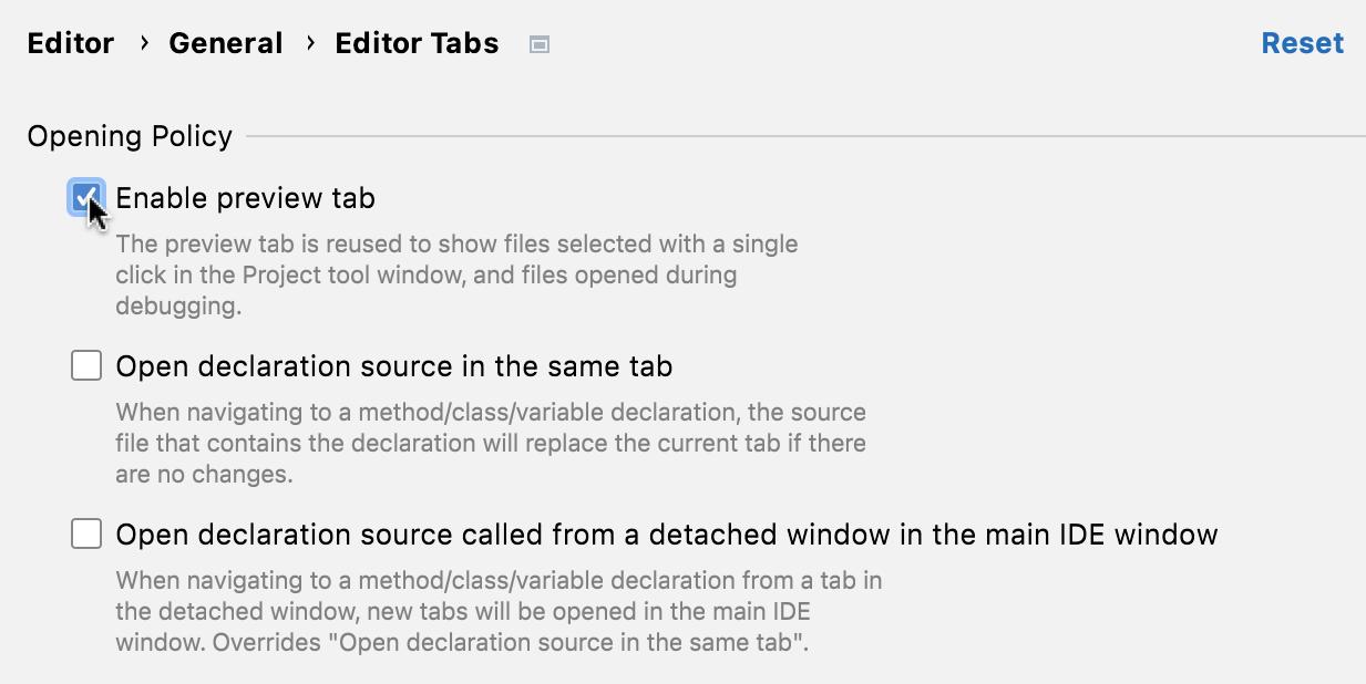 Enabling preview tabs
