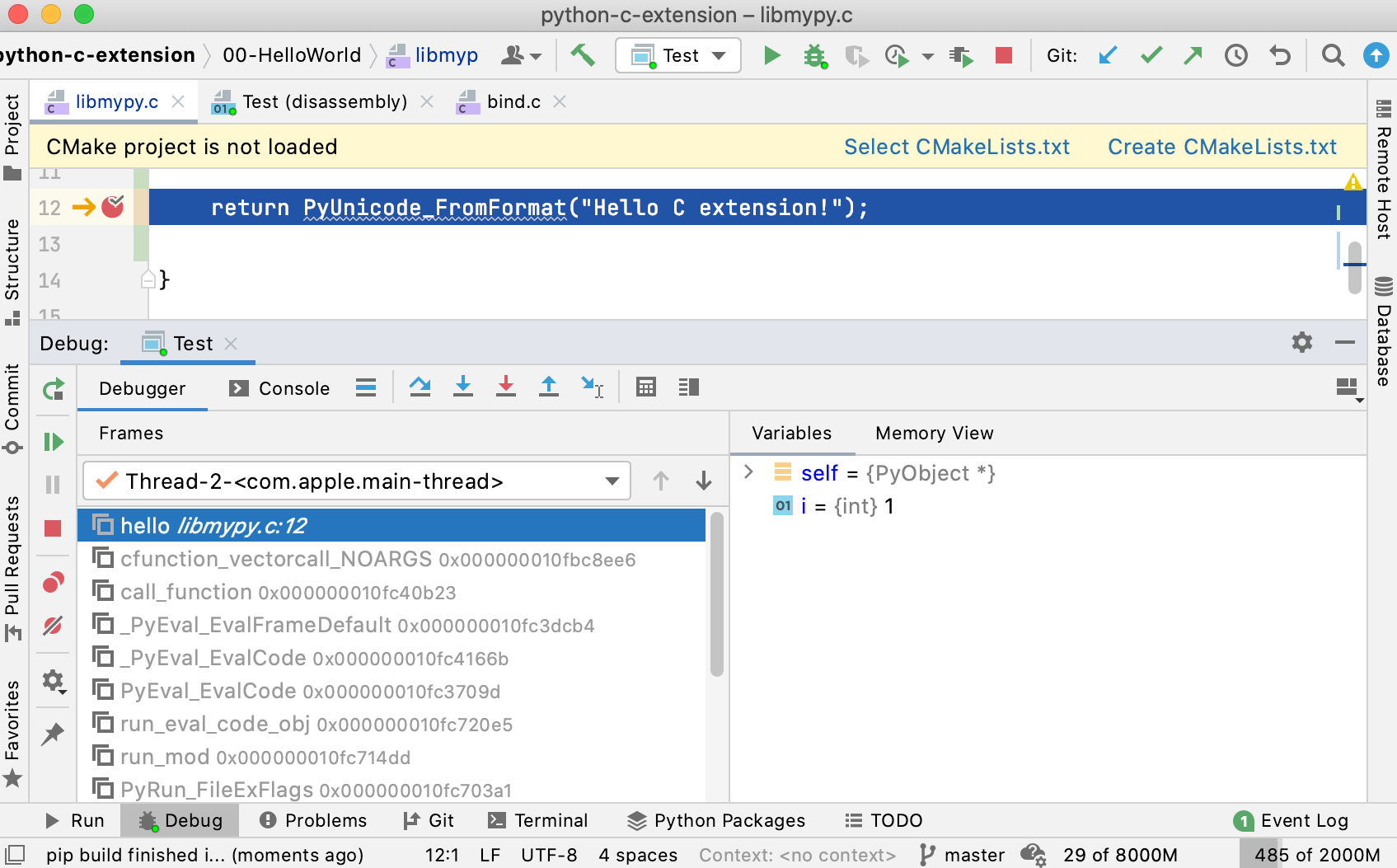 Debugging a Python extension