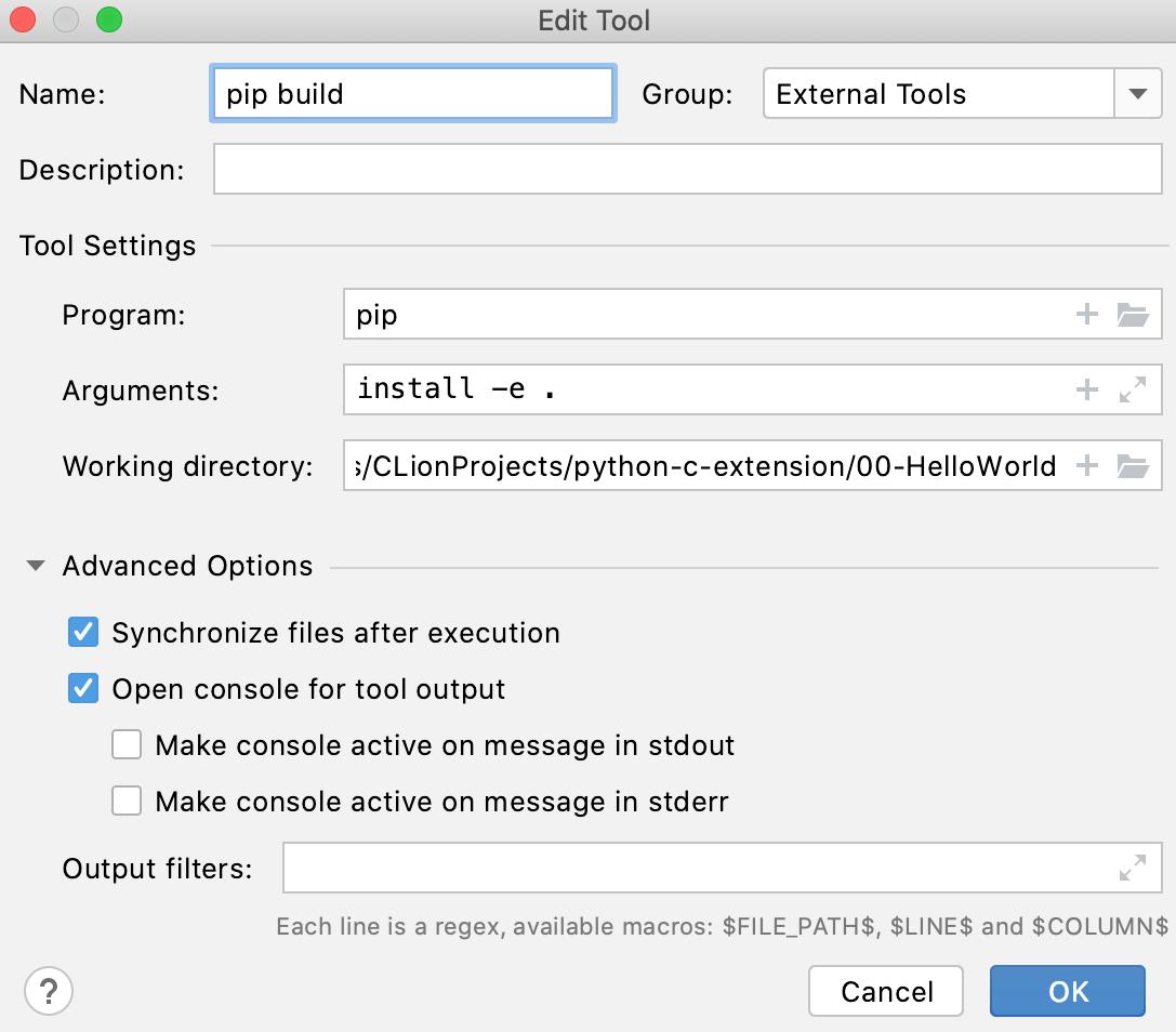 Pip install as an external tool