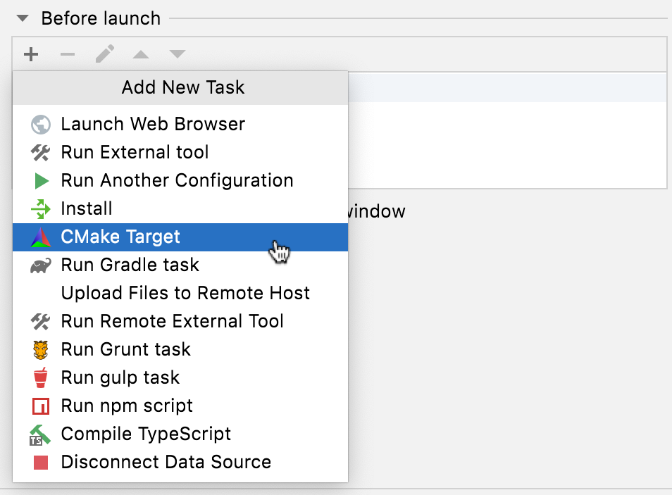 Adding CMake targets before launch