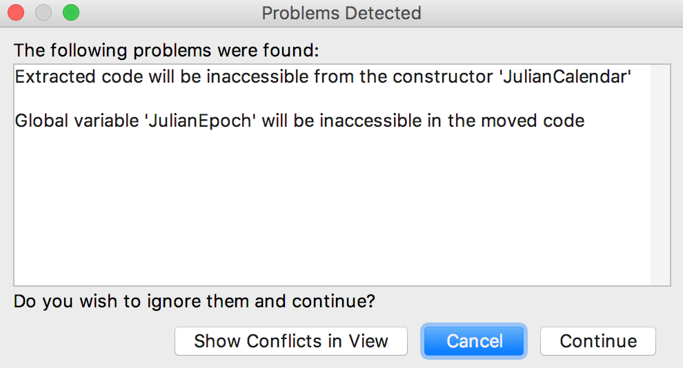 Cl refactoring conflicts dialog