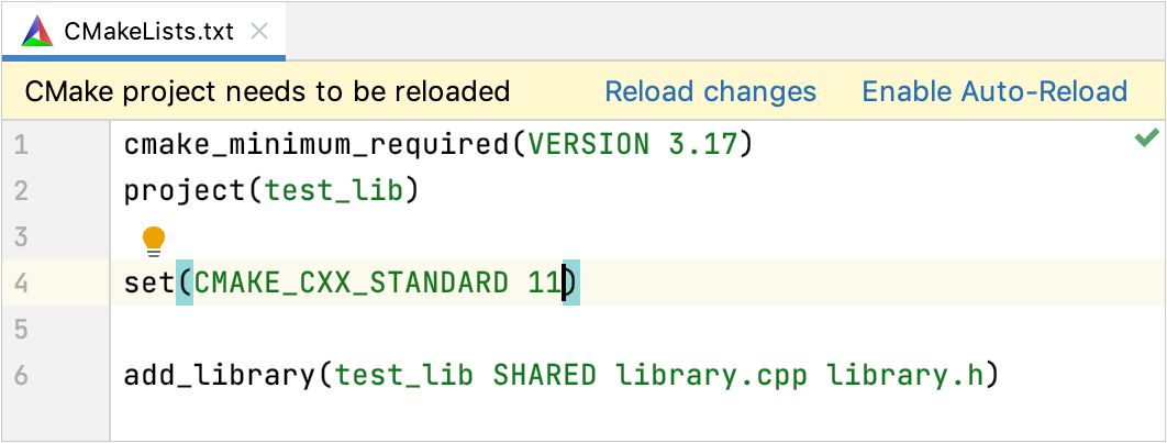 CMake reload options