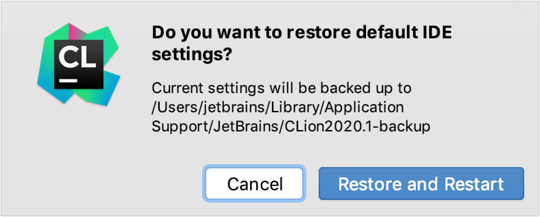A popup prompting to confirm that you want to restore the default settings