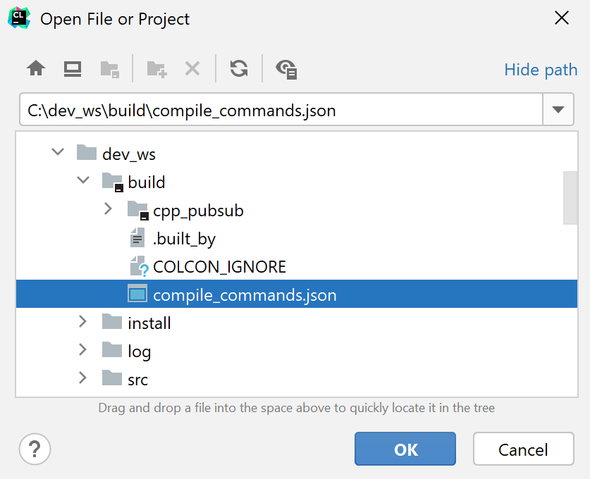 Opening a ROS2 workspace as a compilation database project