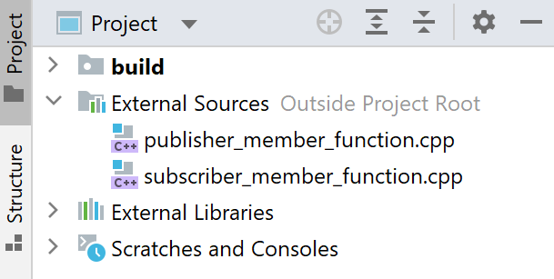 Source files marked external