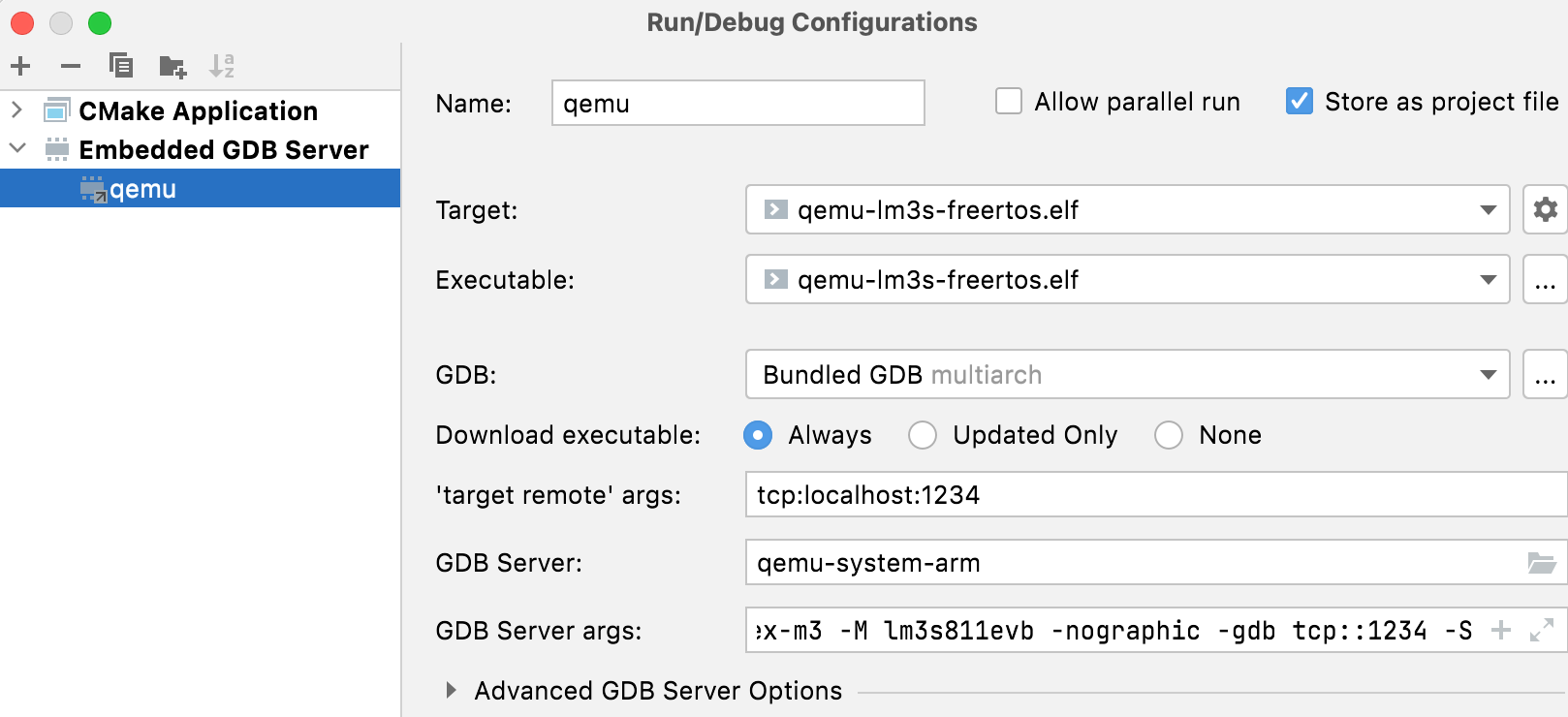 Embedded GDB Server configuration example