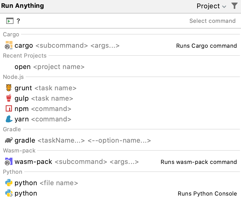 List of the available commands in Run Anything