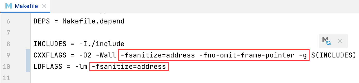 Sanitizer flags in a Makefile
