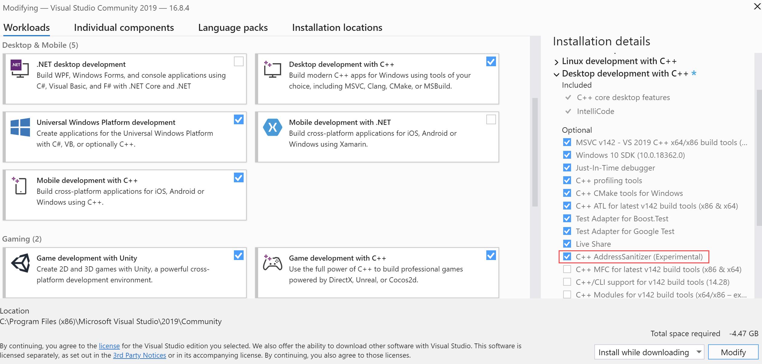 Selecting AddressSanitizer in Visual Studio Installer