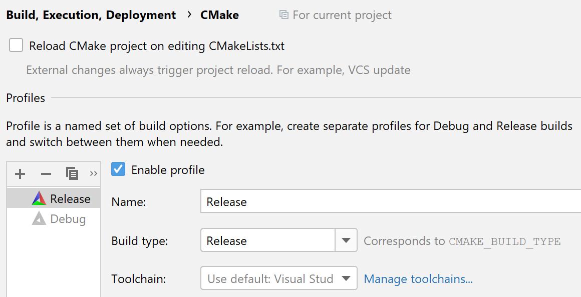 Release CMake profile