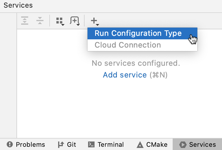 Adding a configuration to the Services tool window