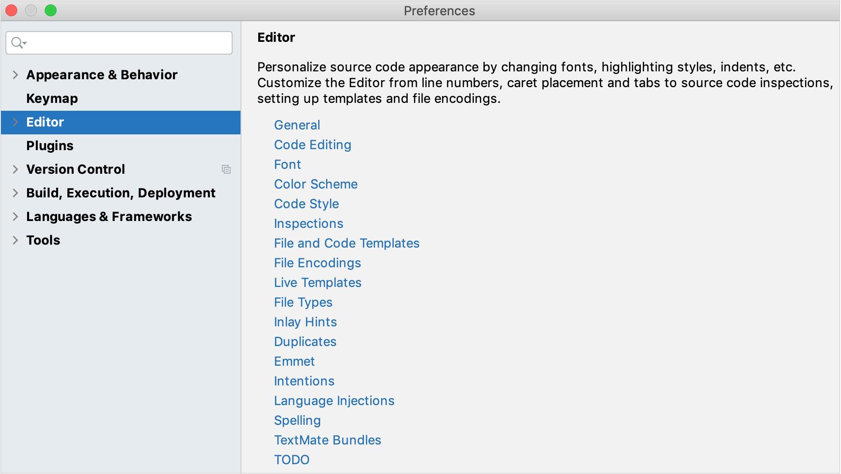 Settings: Editor