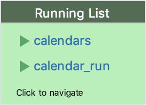 A list of running applications