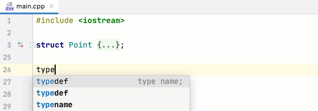 Typedef completion