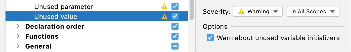 The Unused value inspection settings