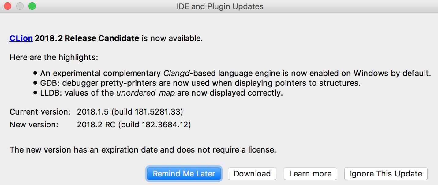 Cl update prompt
